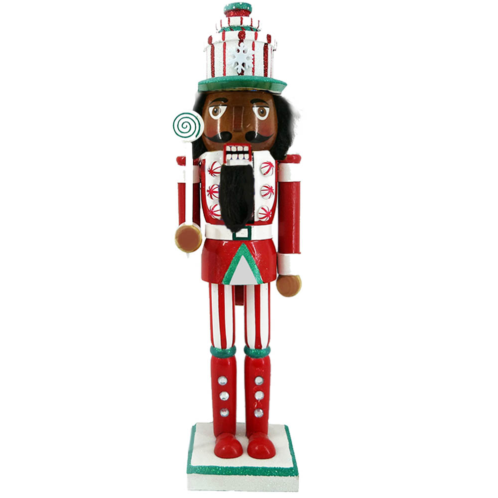 African American Candy Cane Nutcracker in Present Hat 15 Inch