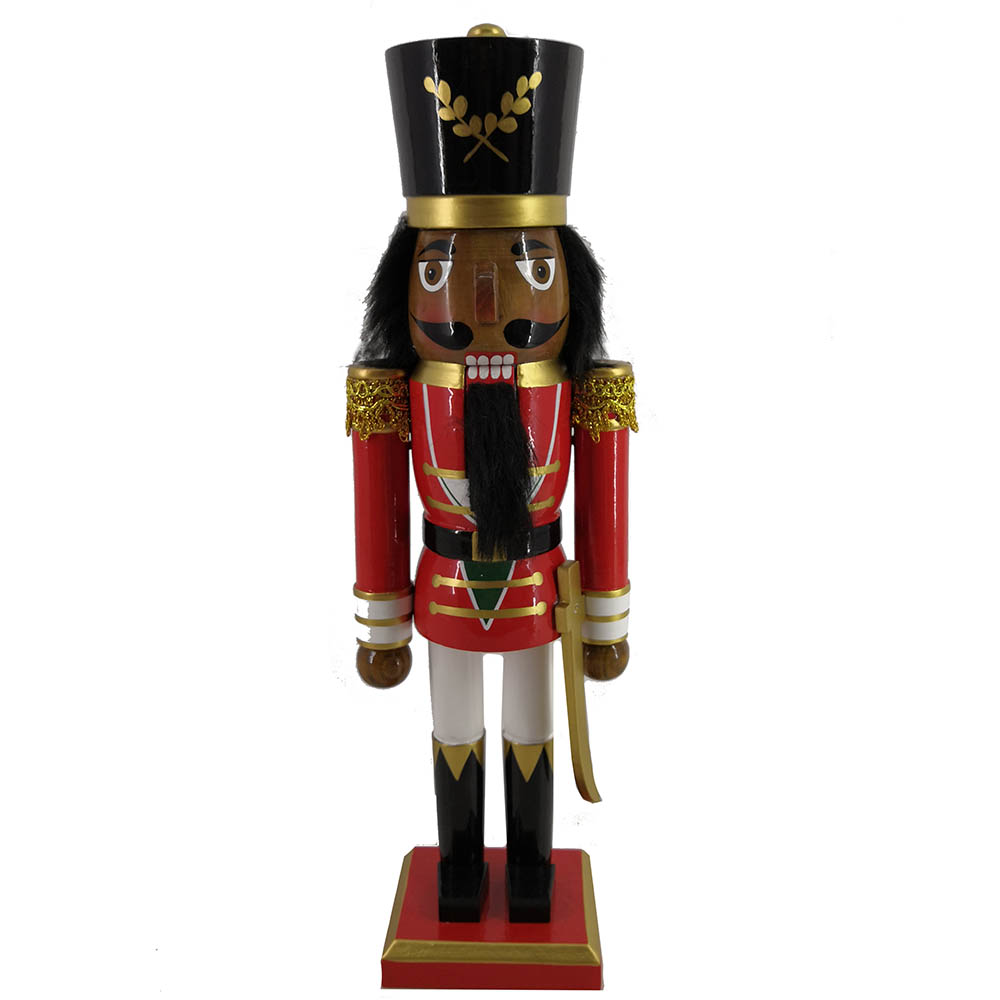 African American Soldier Nutcracker Red Gold Trim and Sword 15 inch