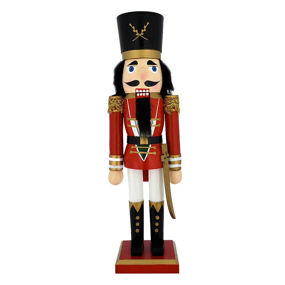 Traditional Soldier Nutcracker Red Gold Trim and Sword 15 inch