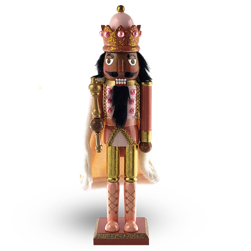 African American King Nutcracker Rose Gold with Cape 15 Inch