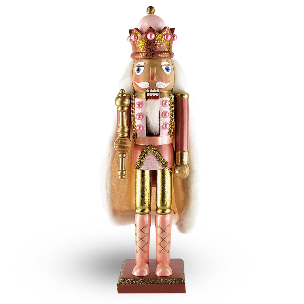 King Nutcracker Fancy Rose Gold with Cape and Crown 15 Inch