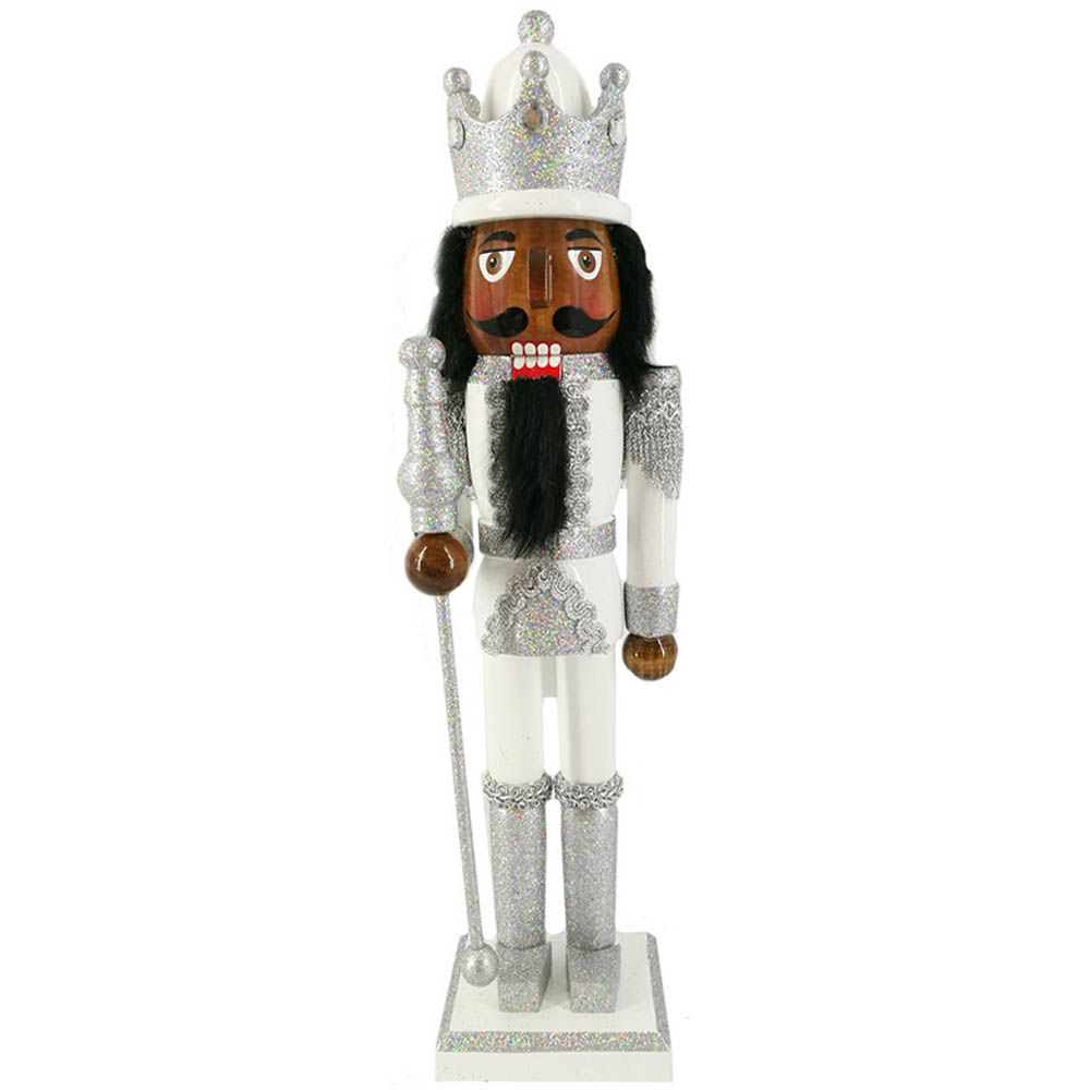 African American King Nutcracker Silver and White with Crown 15 inch