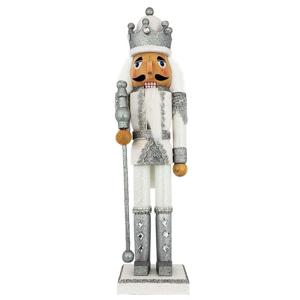 King Nutcracker Silver and White Glitter and Crown 15 inch