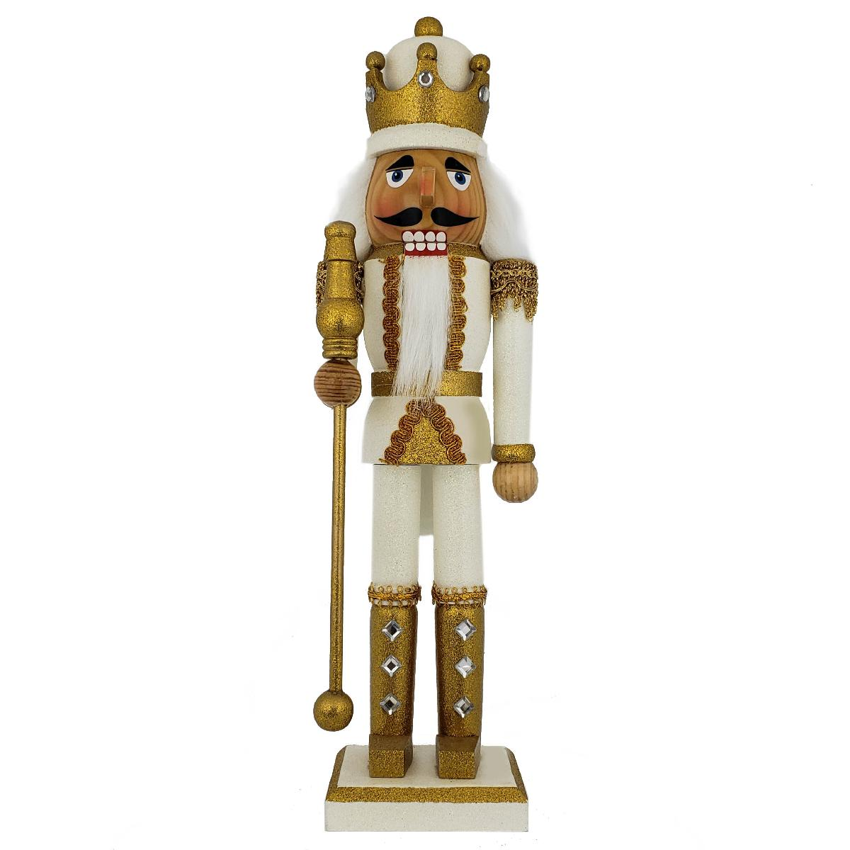 King Nutcracker Gold and White Glitter and Crown 15 inch