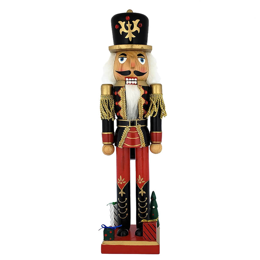 Soldier Nutcracker Black and Red with Gifts on Base 15 inch
