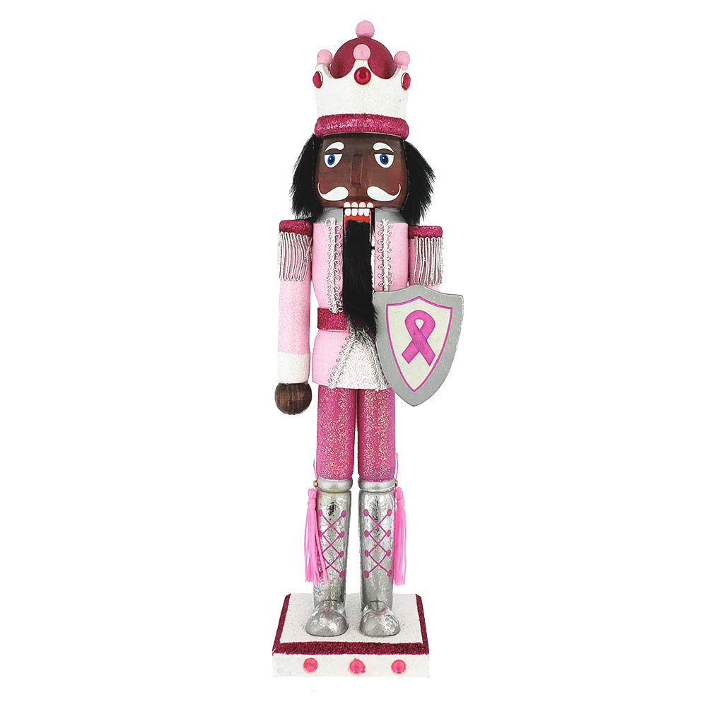 African American Breast Cancer Support King Nutcracker Ribbon 15 inch