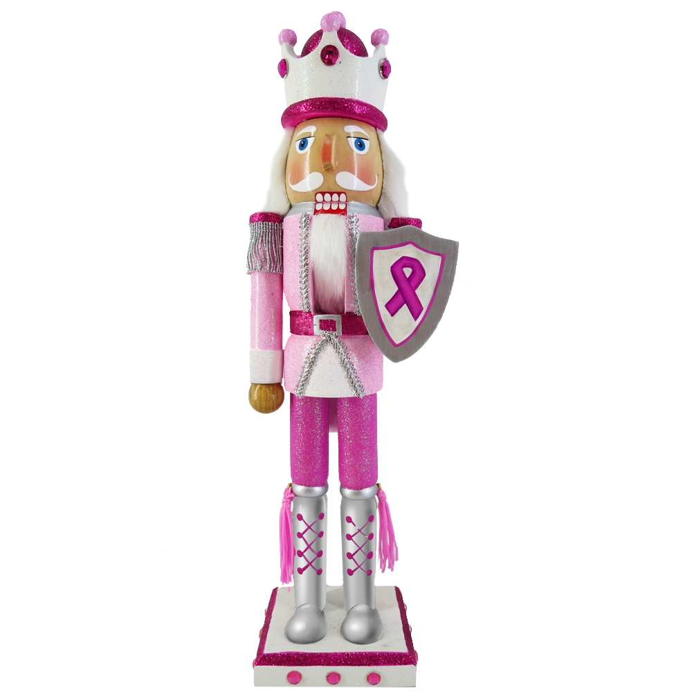 Breast Cancer Support King Nutcracker Pink with Ribbon 15 inch