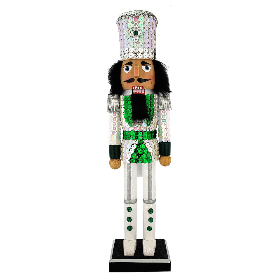 Soldier Sequin Nutcracker White Green Jacket and Top Hat 15 inch