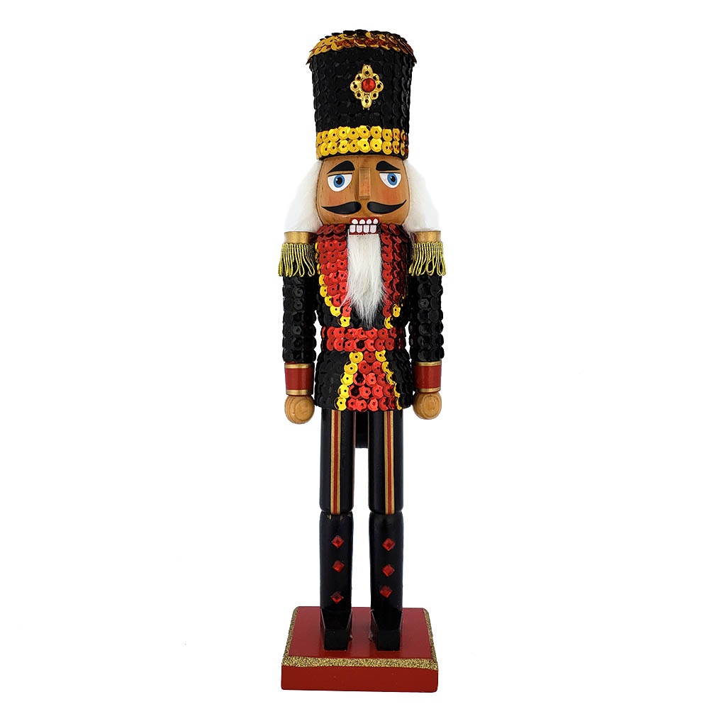 Soldier Sequin Nutcracker Blue Red Jacket and Top Hat 15 inch
