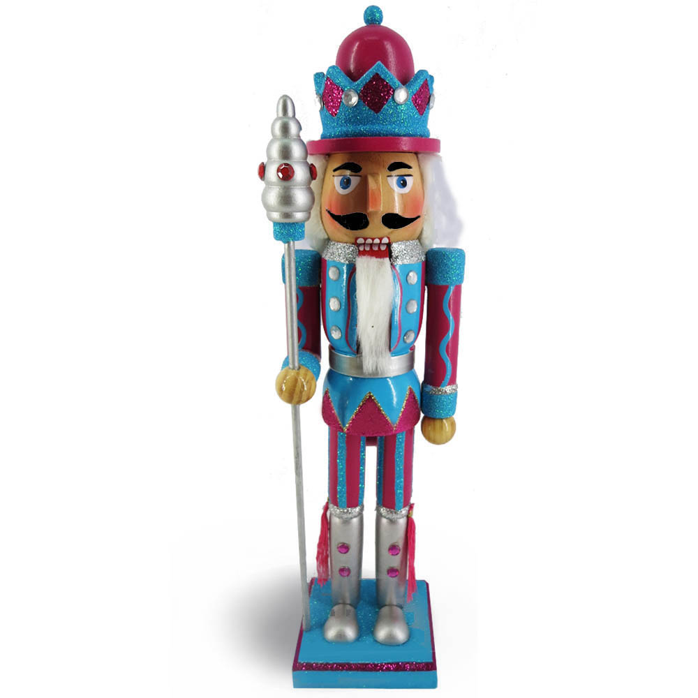 King Nutcracker Teal Magenta Glitter Jacket Crown and sceptre15 inch