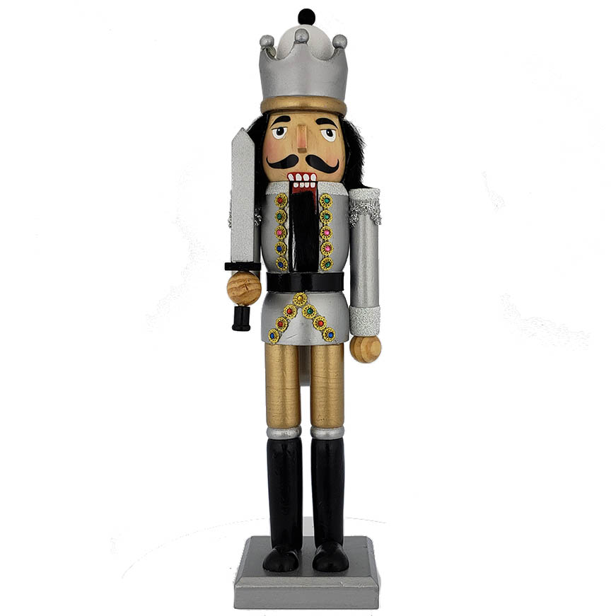 King Nutcracker Black and Silver Leaf Jacket with Gold 15 inch