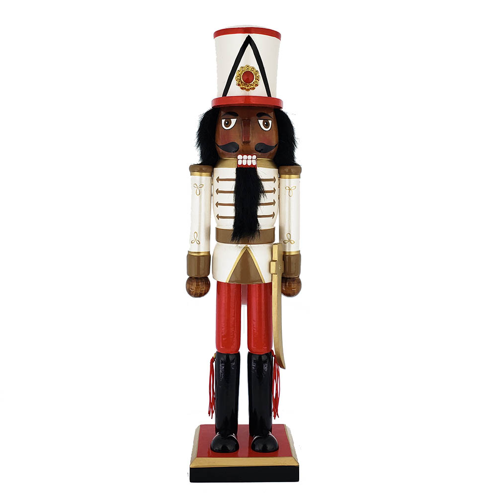African American Soldier Nutcracker Red White Gold Tall Hat 15 inch