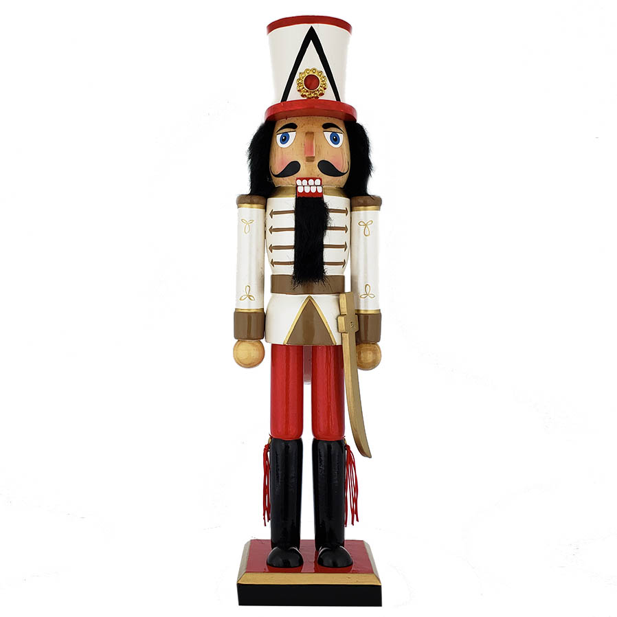 Soldier Nutcracker Pearly White Red Gold Sword and Tall Hat 15 inch