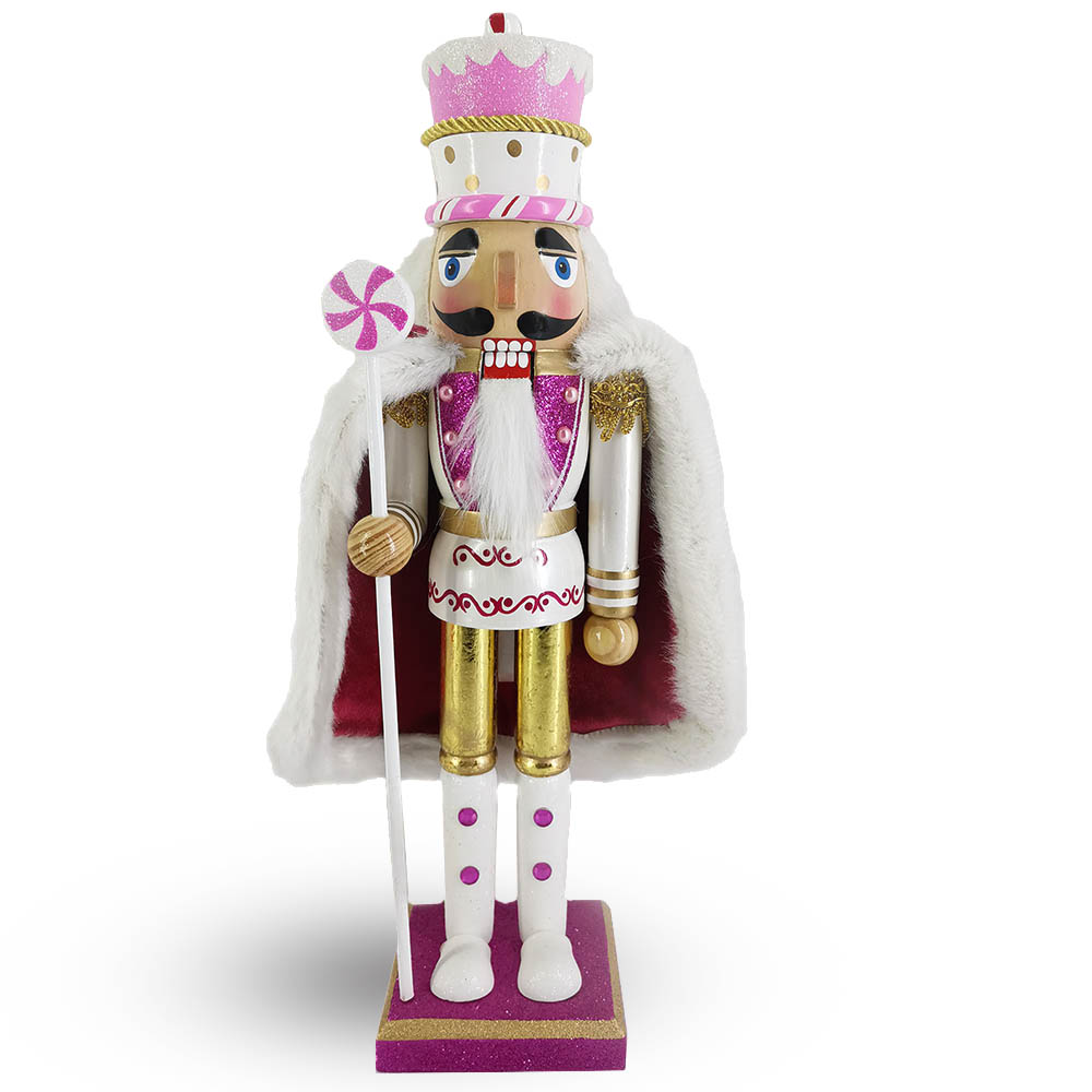 King Nutcracker with Cake Hat in Lavender, Pink and White with Velvety Cape 15 inch