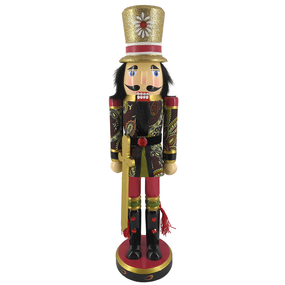 Soldier Nutcracker Paisley Jacket Sword and Top Hat 15 inch