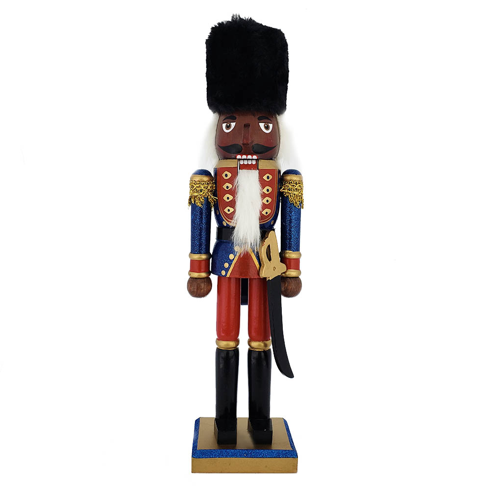 African American Soldier Nutcracker Blue Red Fur Hat 15 inch