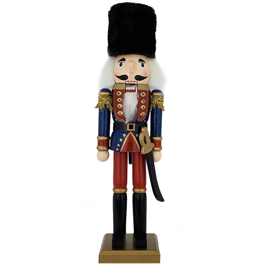 Traditional Soldier Nutcracker Blue Red and Black Fur Hat 15 inch