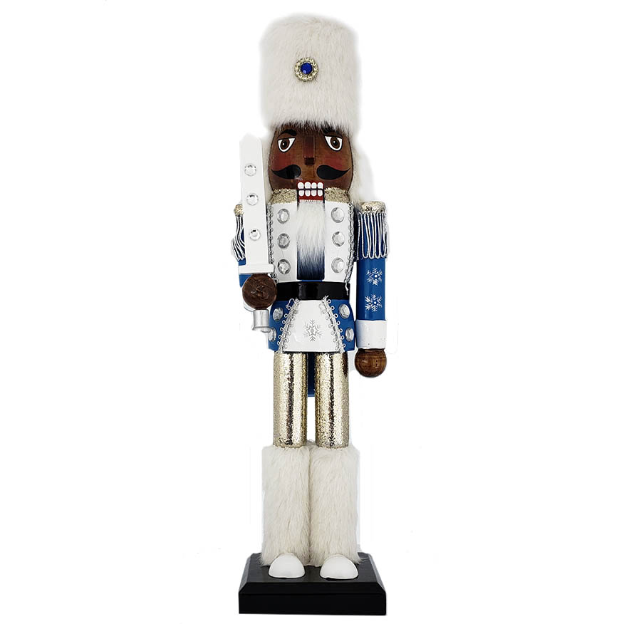 Snow Fantasy African American Soldier Nutcracker White and Blue Fur Hat 15 inch