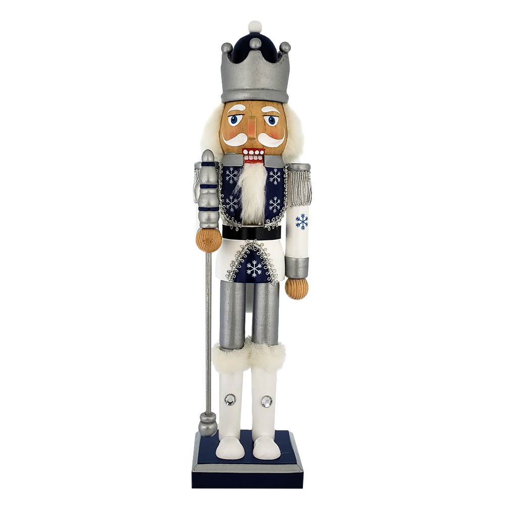 Snow Fantasy King Nutcracker with White Silver Blue Glitter 15 inch