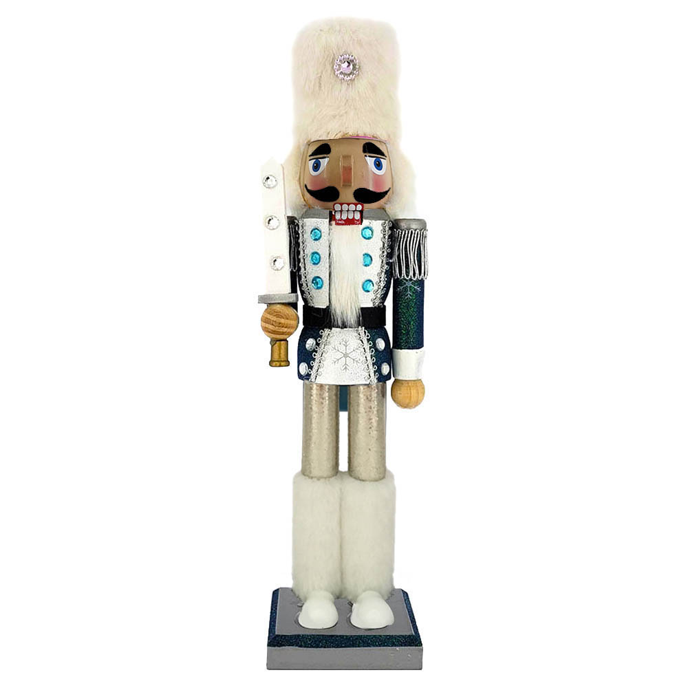 Snow Fantasy Soldier Nutcracker White and Blue Fur Hat 15 inch