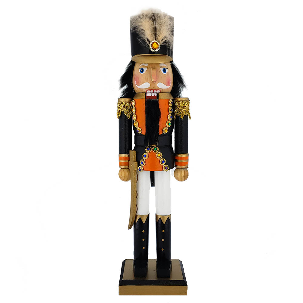 Soldier Nutcracker Orange and Black Jacket and Feather 15 inch