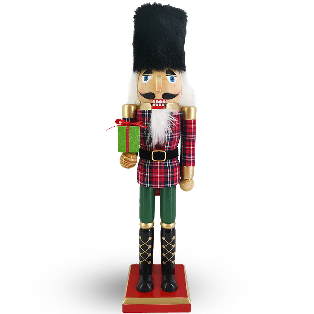 Soldier Nutcracker in Red and Green Plaid with Black Fur Hat 15 inch