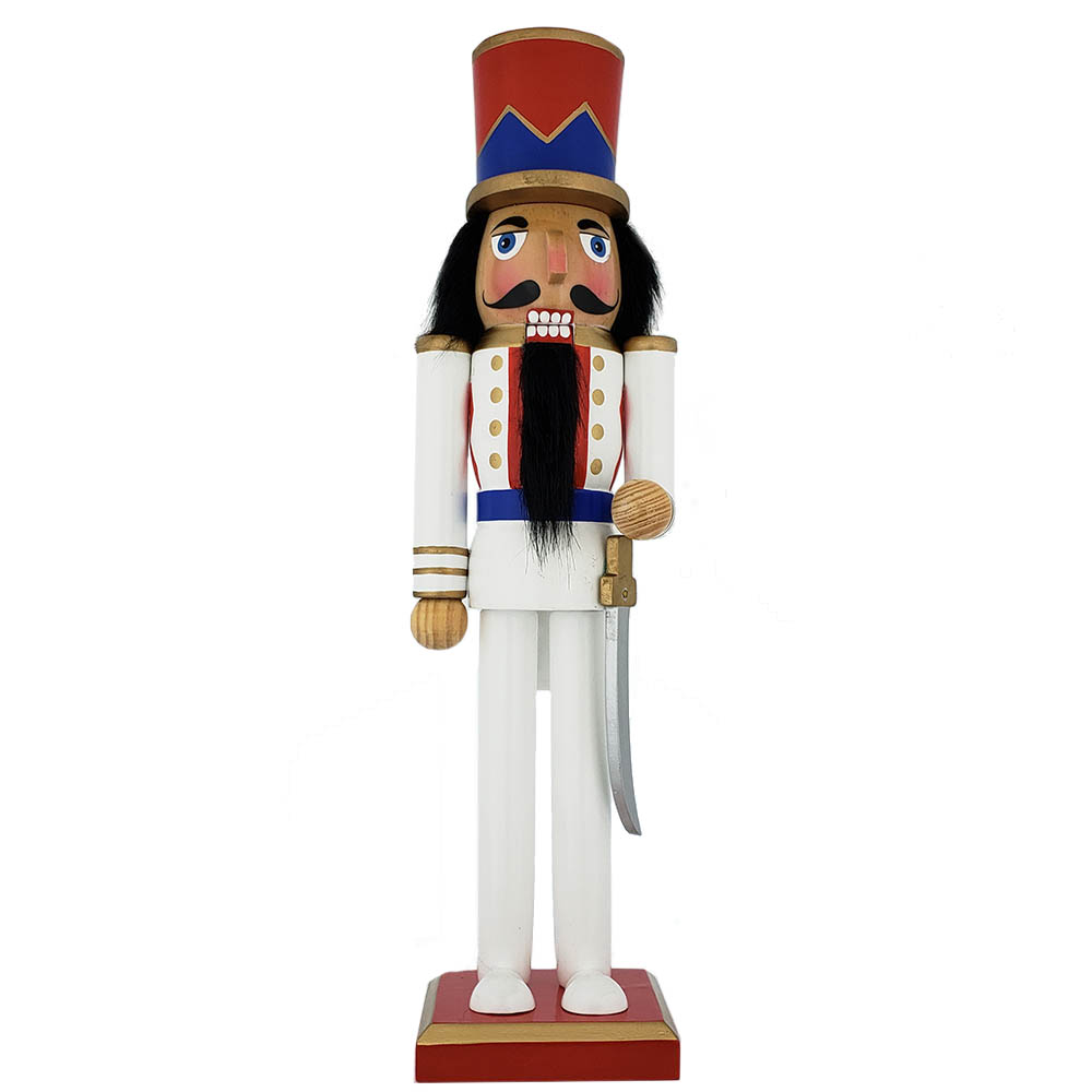 Classic Soldier Nutcracker Pearl White Blue Red Jacket Hat 15 inch