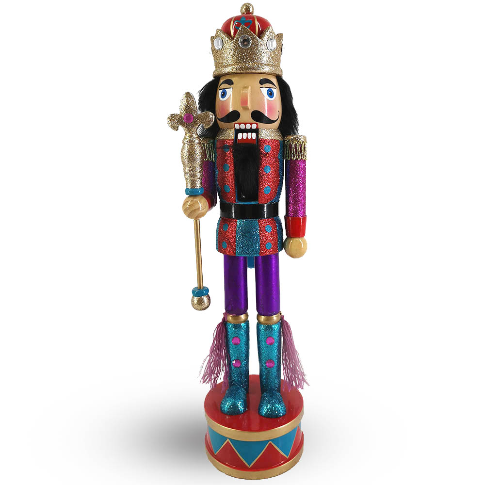 Funky King Nutcracker in Red and Purple Glitter on Drum Base 15 inch