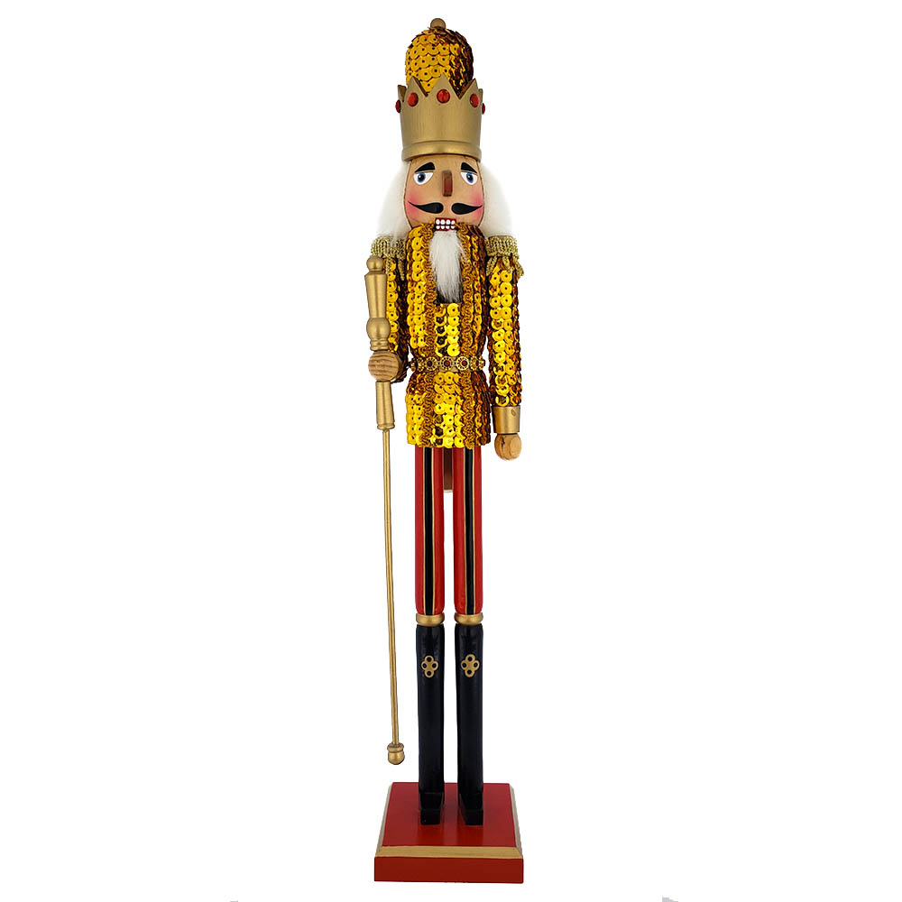 King Sequin Nutcracker Gold Jacket and Gold Crown 20 inch
