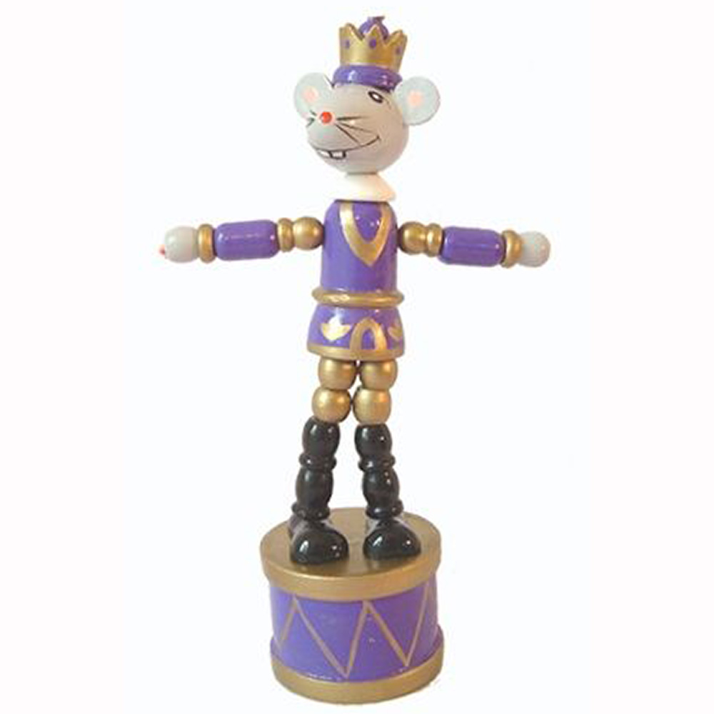 Mouse King Push Puppet Nutcracker Ornament 5 inch