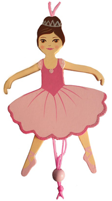 Ballerina Pull Puppet Ornament Brown Hair 6 inch