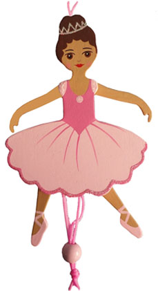 African American Ballerina Pull Puppet Ornament 6 inch