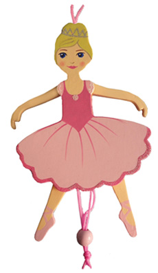 Ballerina Pull Puppet Ornament Blonde Hair 6 inch
