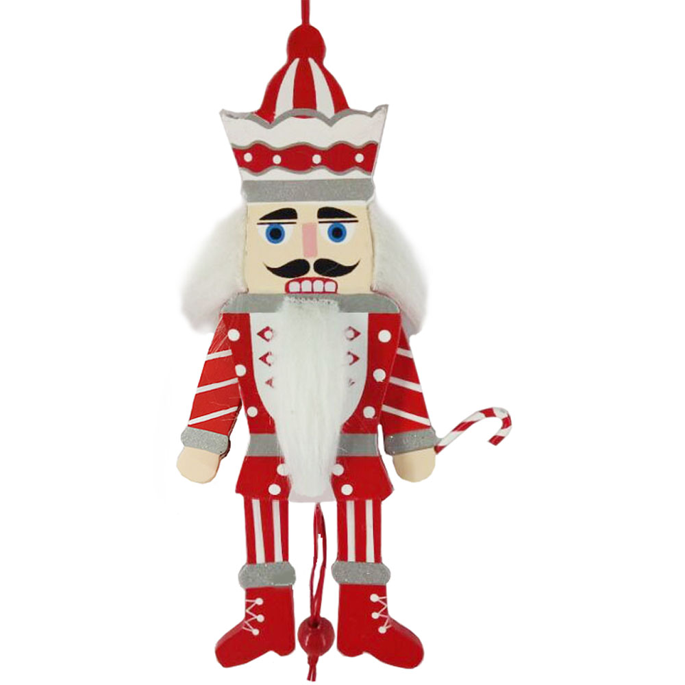 Candy Cane Pull Puppet Nutcracker Ornament 6 inch