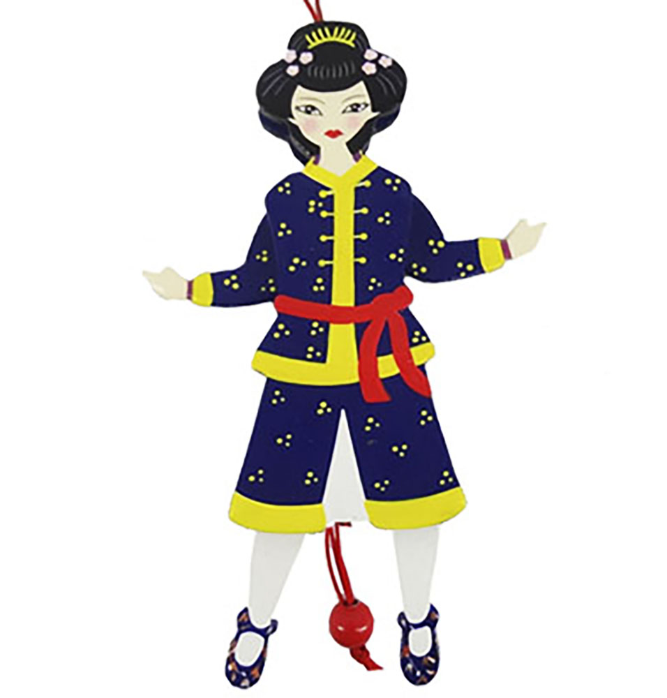 Chinese Land of Sweets Pull Puppet Ornament 6 inch