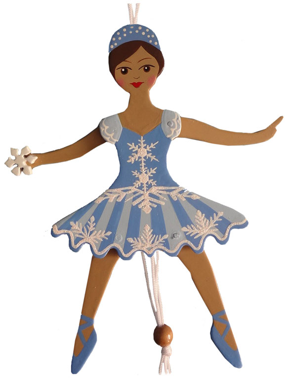 African American Snowflake Dancer Pull Puppet Ornament 6 inch