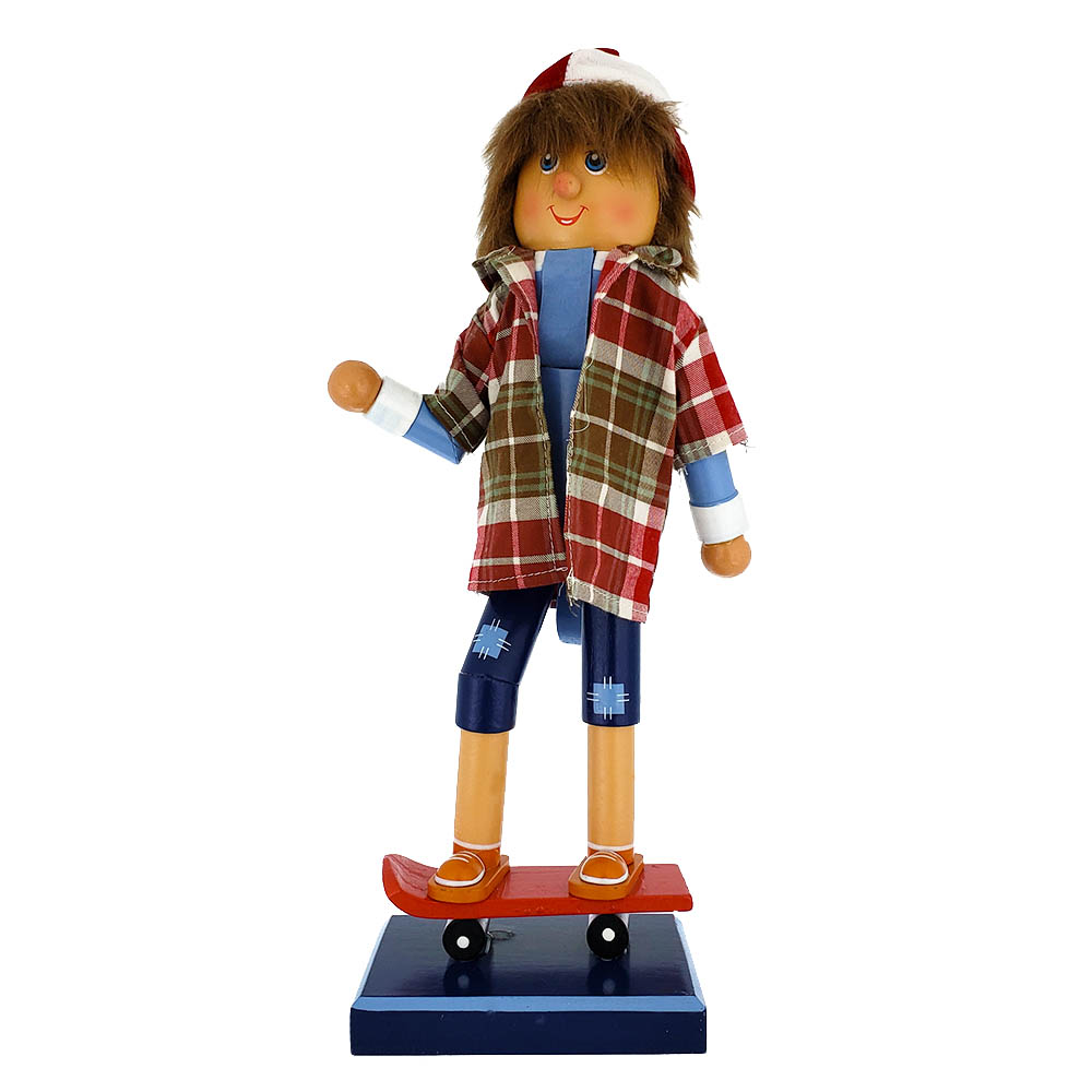 Skateboarding Nutcracker Boy with Cap and Shorts 14 inch