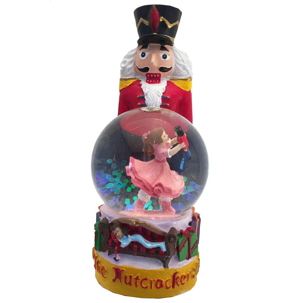 Nutcracker Figurine with Clara Mini Snow Globe