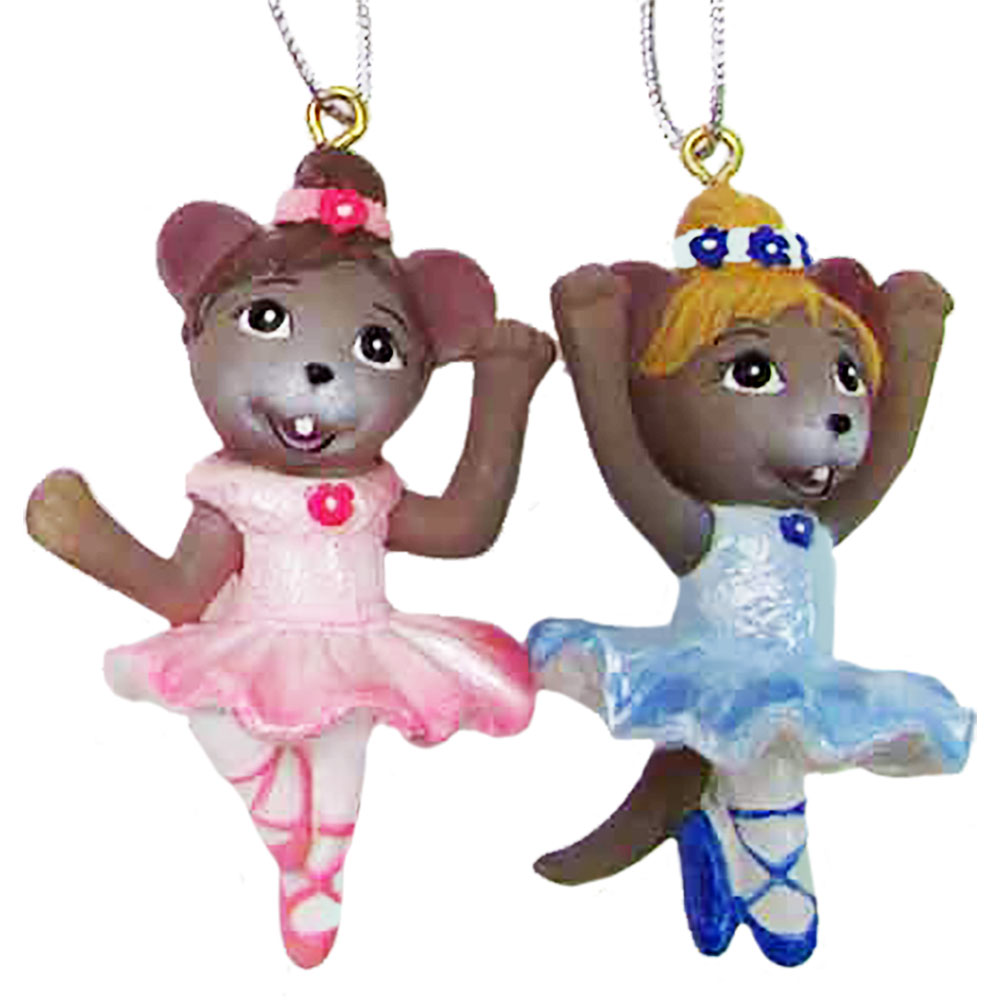 Ballerina Mouse Ornaments Set of 2 2 inch