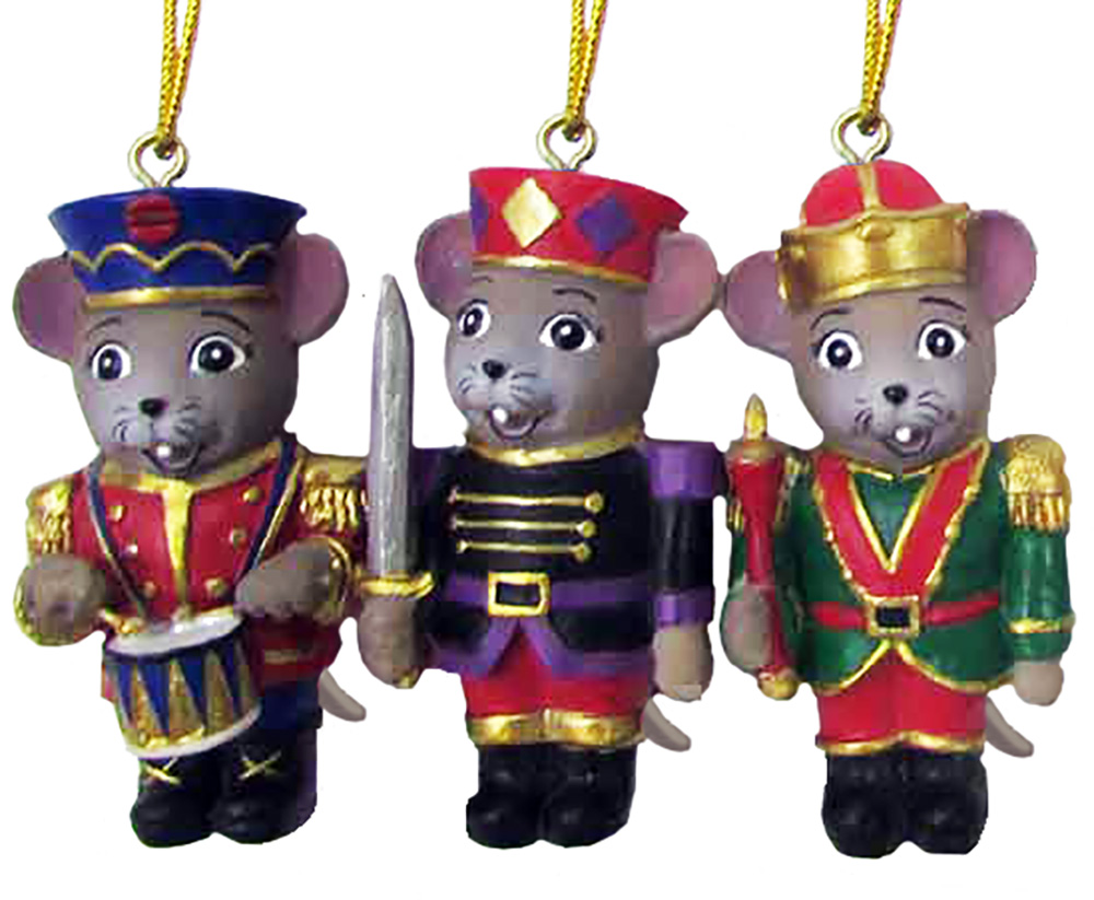 Nutcracker Mouse Ornaments Set of 3 2 inch