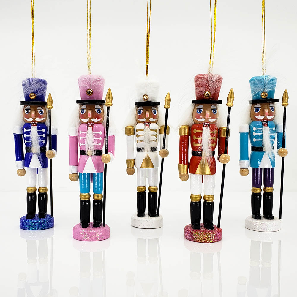 Multicolor African American Nutcracker Ornaments Set of 5
