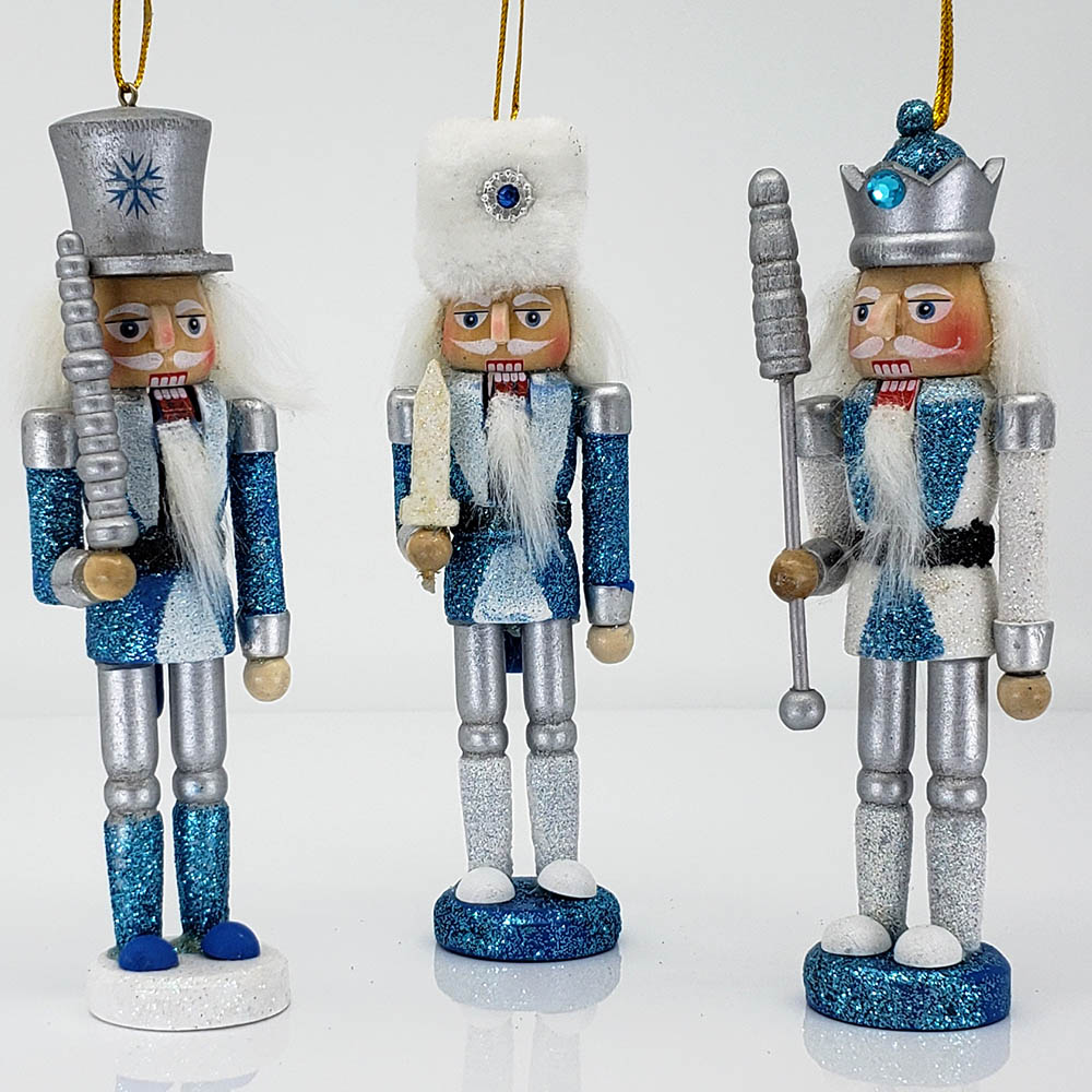 Snow Fantasy Nutcracker Ornament Set of 3 in 5 inch