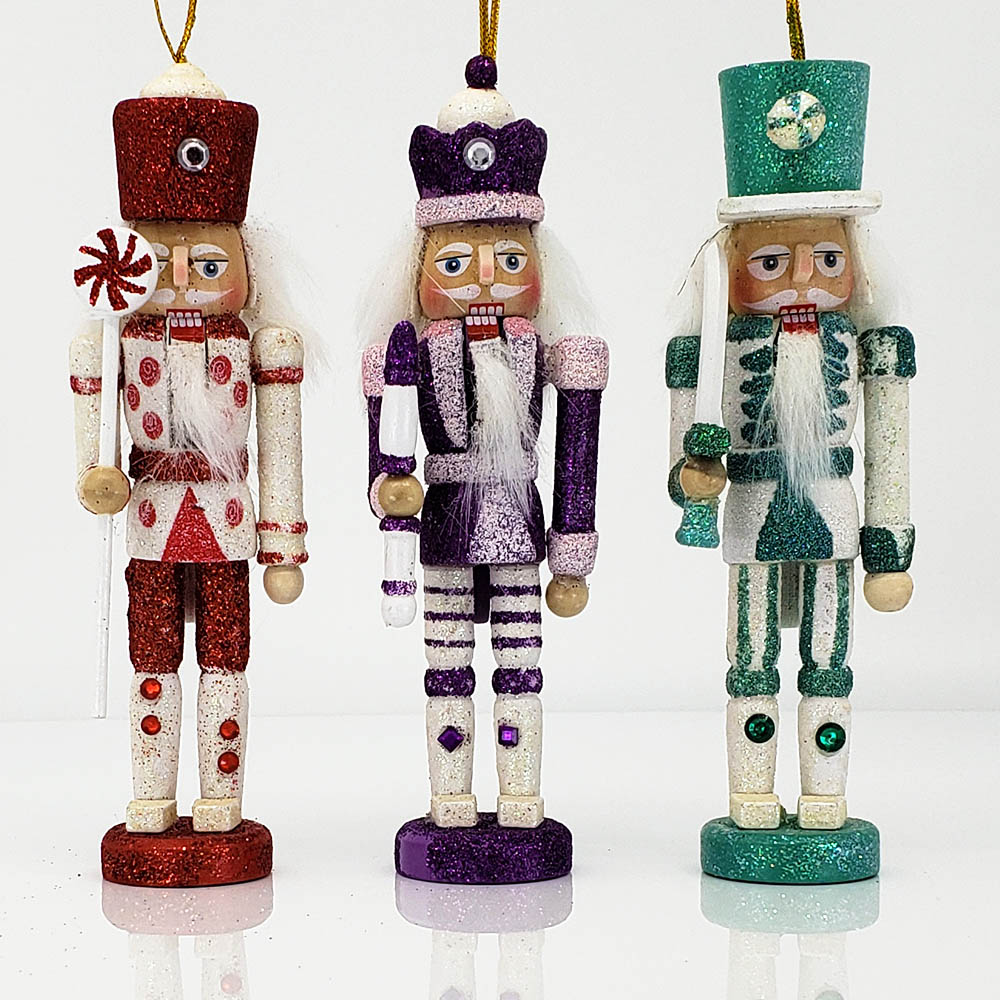 Candy Cane Nutcracker Ornament Set of 3 in 6 inch