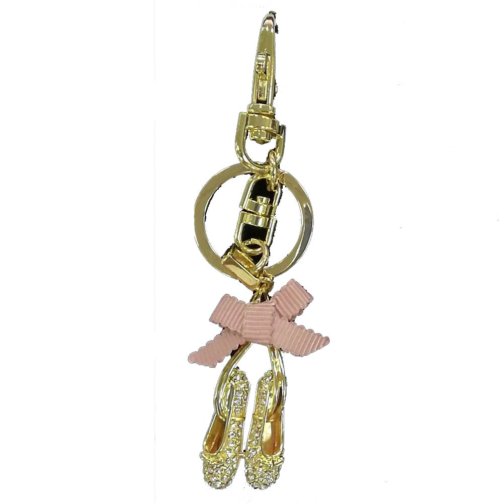 Ballet Slippers in Gold with Rhinestones Key Chain