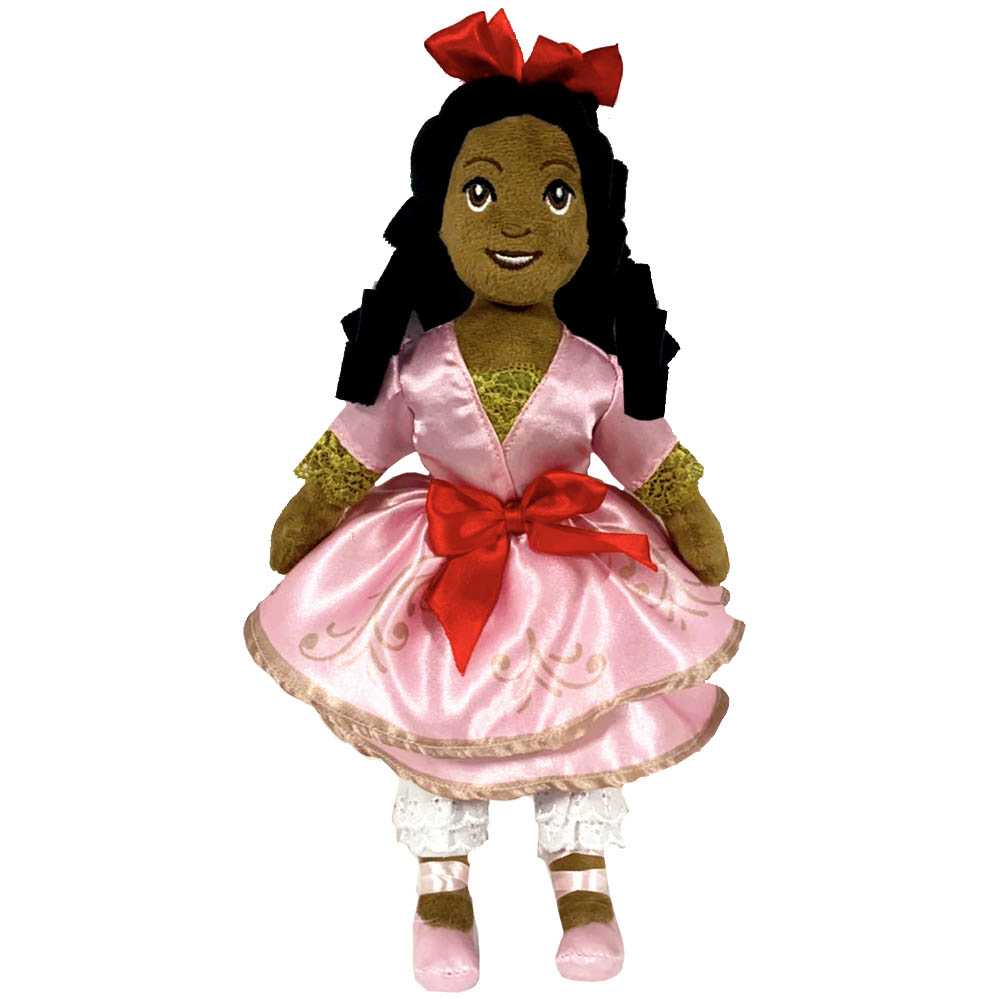 African American Clara Plush Doll in Pink Satin Dress 14 Inch