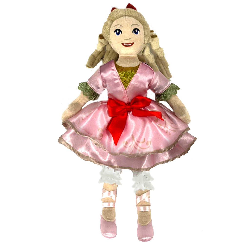 Clara Plush Doll in Soft Pink Satin Dress and Red Bow 14 inch