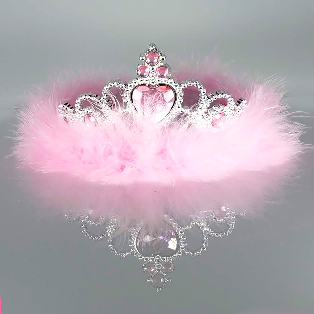 Fluffy Pink Feather Sparkling Rhinestones Regal Tiara