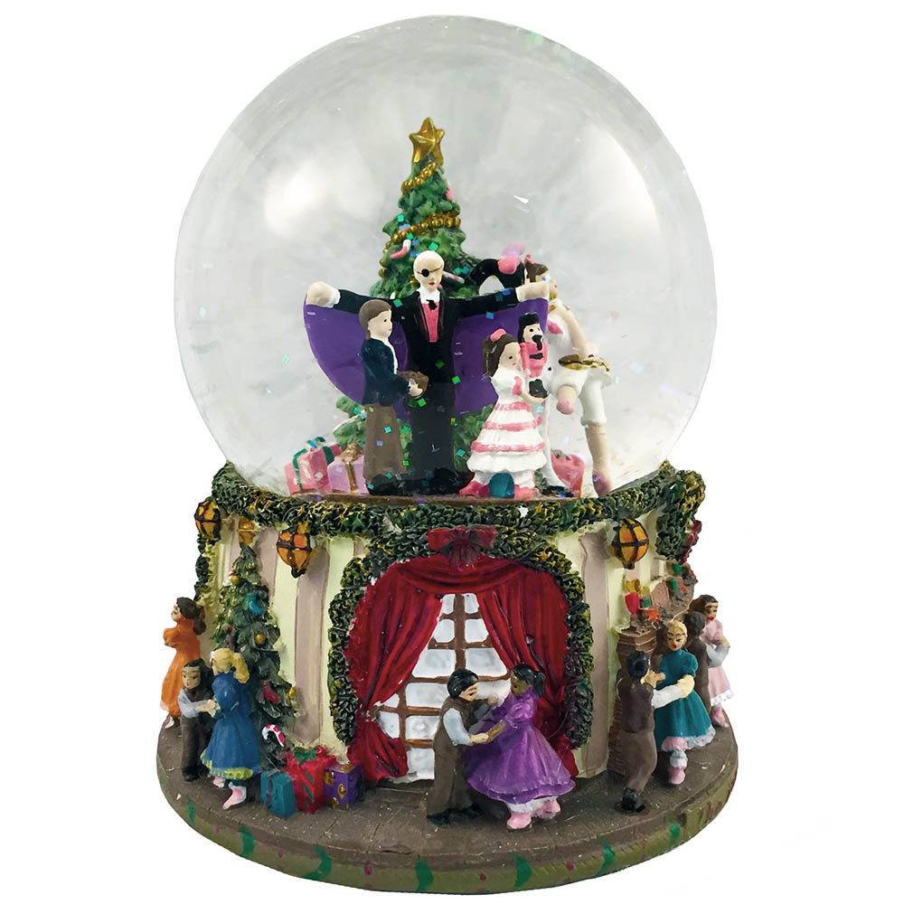 Musical Party Scene Snow Globe Plays Nutcracker Suite March
