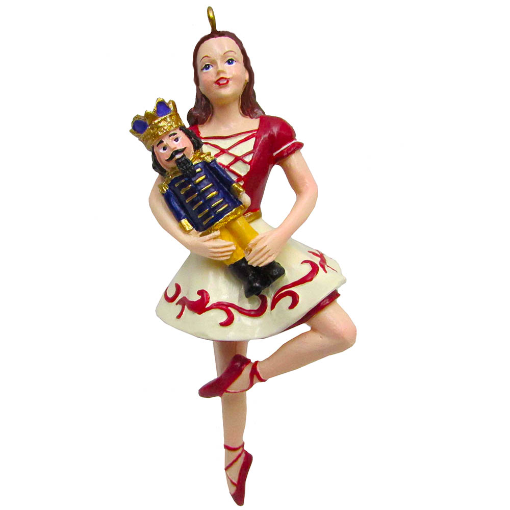 Clara on Pointe with Nutcracker Resin Ornament 4 inch