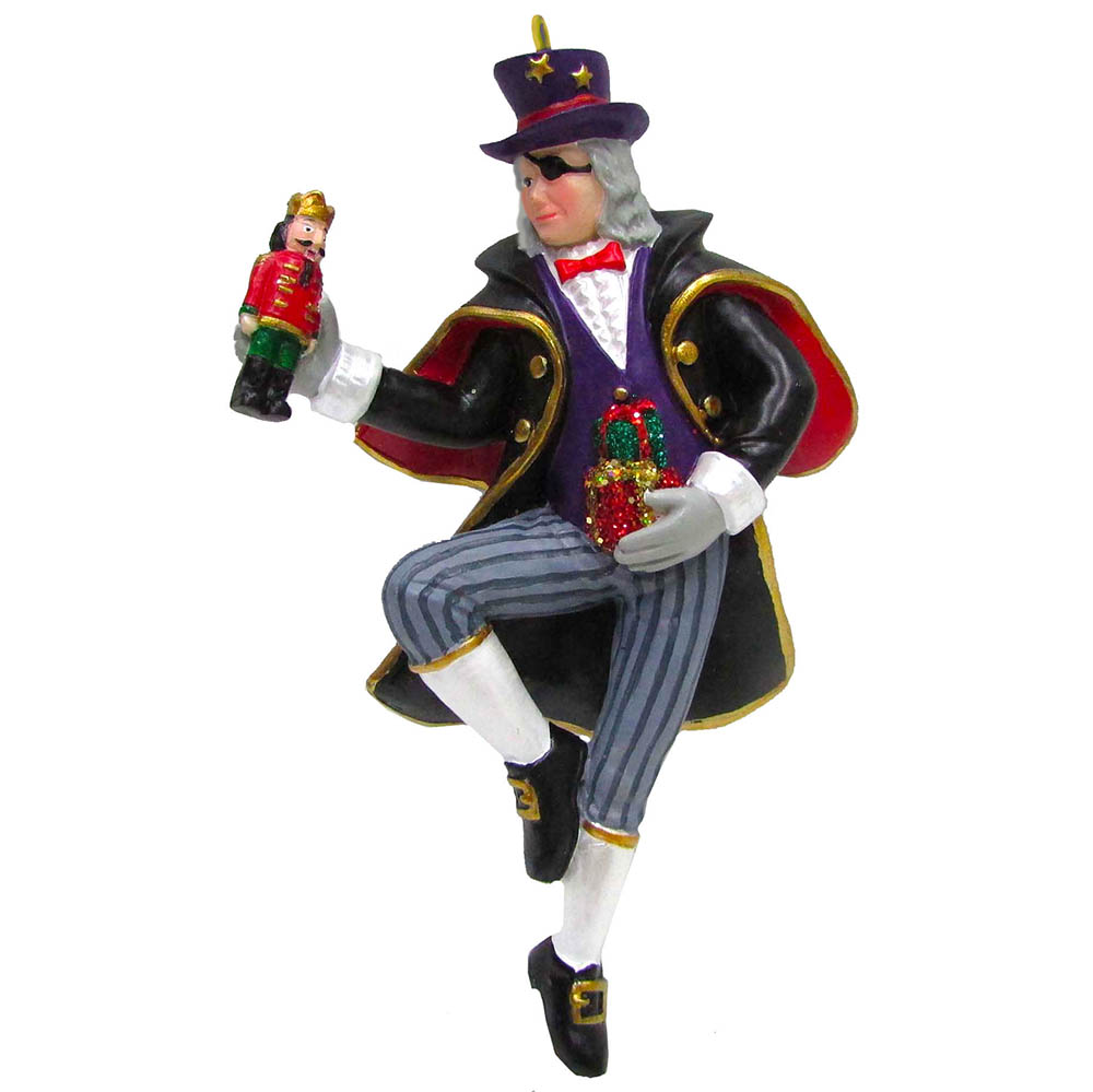 Uncle Drosselmeyer Resin Ornament with Nutcracker 4 inch